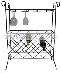 Glass top wine table with glass holder